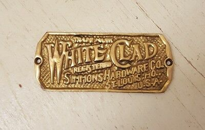 Cast Brass Wooden Ice Box Name Plate Label Tag White Clad Simmons Hardware