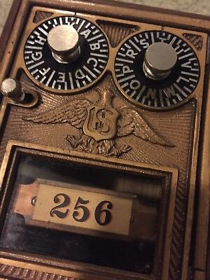 Antique Post Office P.O. Door Vintage USPS Mail Lock Box Postal Coin bank- NEW