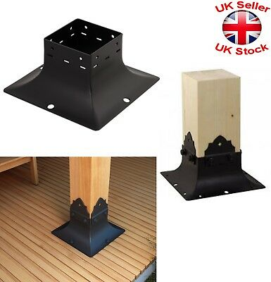 Black Decorative Square Post Fence Foot Base Pillar Cover 3 Sizes