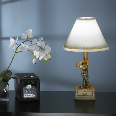 """Mickey Mouse Yacht Club Metal Lamp - 18"""" Bronze Colored Lamp with White Shade"""