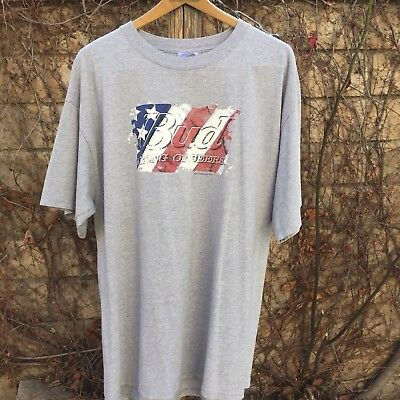 "Budweiser Vintage ""King Of Beers"" Spell Out American Flag Graphic Gray Tee Shirt"