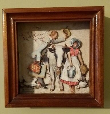 Norman Rockwell Traveling Salesman  Diorama 3D Picture Frame Free Shipping