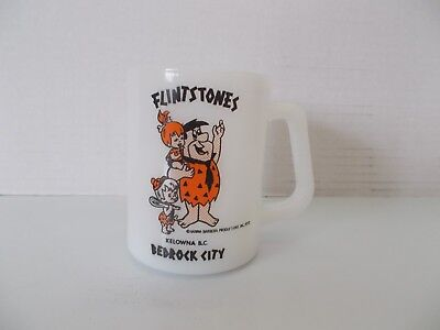 Vintage Flintstones Federal Milk Glass Coffee Mug Bedrock City Hannah Barbera 73