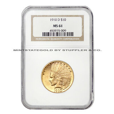 1910-D $10 Indian Head NGC MS61 Denver minted Gold Eagle uncirculated coin
