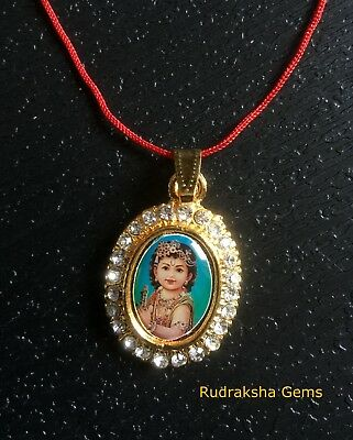 HINDI DEITY KRISHNA Pendant Lord Radha Krishna Necklace Shri