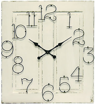 New White Vintage Wooden Panel Clock French Provincial Home & Garden Decor -5053