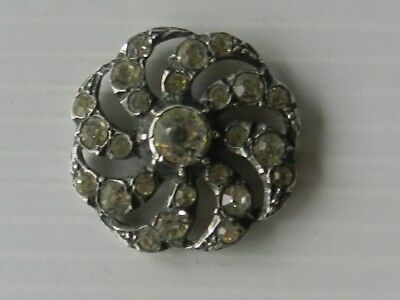 stunning antique cast pierced solid silver and diamond pastes button