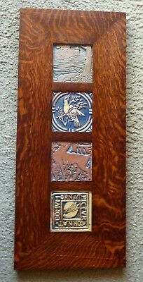 Dard Hunter Studios Frame With Two Batchelder And Two Moravian Tiles