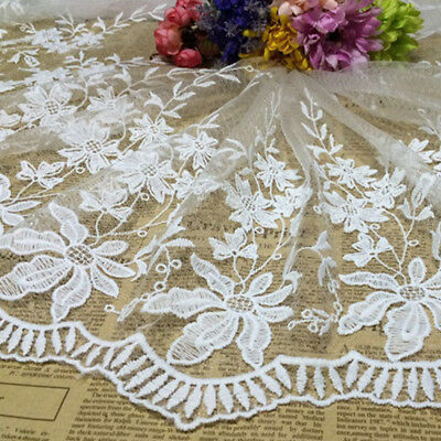 Floral Lace Embroidered Trim Tulle Wedding Dress Clothes Sewing Craft Decoration