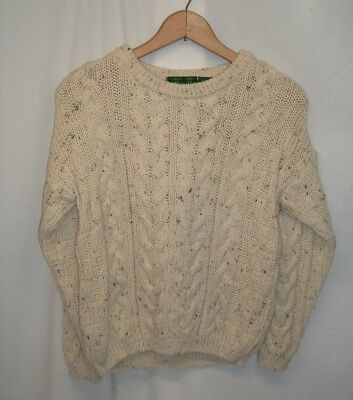 McKENNAS Child Size 8-10 100% (New Wool) Cable Knit Fisherman's Sweater England