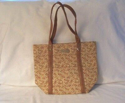 Longaberger Fall Vintage Floral Fabric Purse Tote Bag Tan Brown Floral Pattern