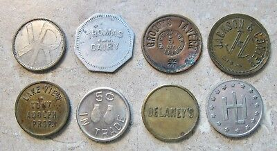 Lot Of 8 Old Merchant Trade Tokens Unknown Locations