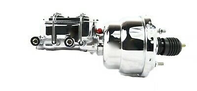 "7"" Street Rod Dual Chrome Power Brake Booster W/dual Chrome Bowl Master Cylinder"