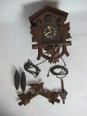 Vintage Antique Wooden German Made Cuckoo Clock For Parts Repair Restoration