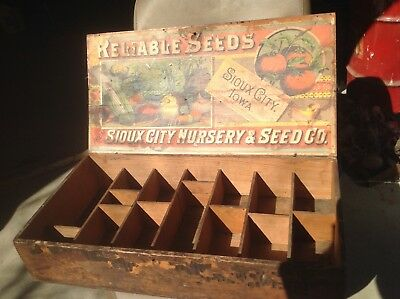 Antique Reliable Iowa Garden Flower Seeds Advertising Wood Store Display Box