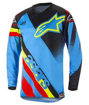 NEW 2018 Alpinestars Racer Supermatic Adults MX Motocross Jersey Aqua Blue/Red