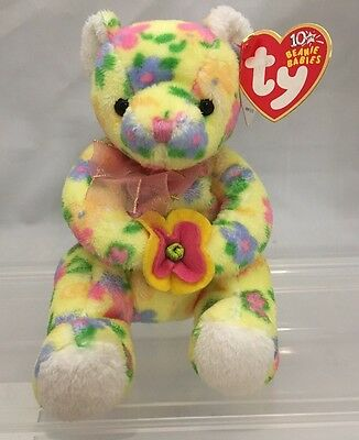 Retired TY Beanie Baby Babies 10 Yrs BLOOM Bear Yellow Flowers Floral Pink Bow