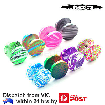 2-8pcs Fake Stretcher Piercing 20g Candy Colour Tunnel Plug Steel Body Jewellery