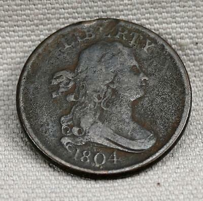 1804 Crosslet 4 With Stems DRAPED BUST Half Cent!  No Reserve!