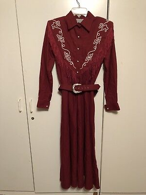 Vintage Lilia Smitty Exclusive Western Square Dancing Womens Dress Fringe Belt