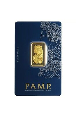 PAMP SUISSE 10g (gram) GOLD BAR IN Assay Card