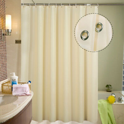 Fabric Shower Curtain Plain Extra Wide Long Standard Curtains With 12 Hooks Ring