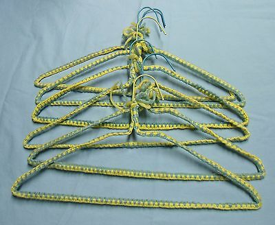 6 Vintage Crocheted Yarn Covered Wire Hangers -1960's - Yellow & Blue Lot #1