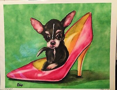 100% Donation CHIHUAHUA Watercolor Painting 8x10 LE ART Print Sign&Number Philo