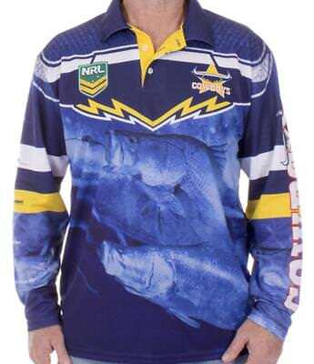 NRL Long Sleeve Fishing Polo Tee Shirt - North Queensland Cowboys - Adults Youth