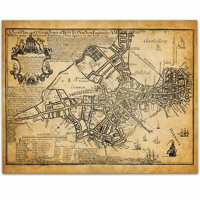 Boston Map 1769 Art Print 11x14 Unframed Art Print Great Vintage