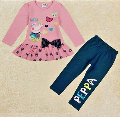 NWT Peppa Pig Happy Days Pink Heart Ruffle Tunic Navy Legging Set  Size 12/18M