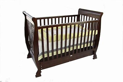 Brand New Baby Star Virginia Sleigh 3 In 1 Cot Infant/toddler Or Sofa Bedrrp$799