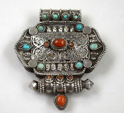 Antique Vintage 800 Coin Silver Artisan Tribal Ethnic Stones Pendant Box 35,5 g