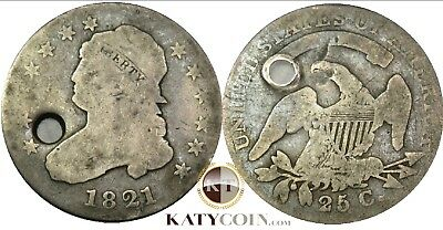 1821-P Silver Capped Bust Liberty 25c Quarter Dollar US Coin #17330