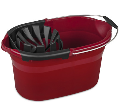 Mop Wringer Plastic Bucket Spin Cleaning 17.5-Quart Residential Metal Handle