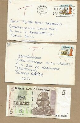 Zimbabwe: 2 TAXED covers + $5 banknote + 13 used + 2 other items. (Ref 577)