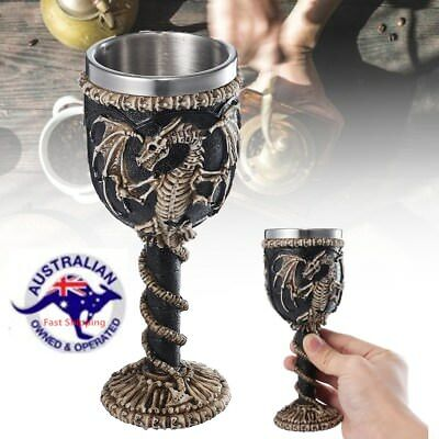Dragon Mug Resin Stainless Steel Skull Tea Wine Cup Gothic Medieval Goblet  Gift