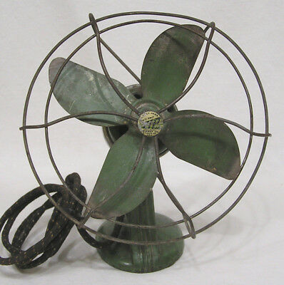 Vtg ZIP Electric Fan Art Deco Period Green Chrome Needs Some Restoration