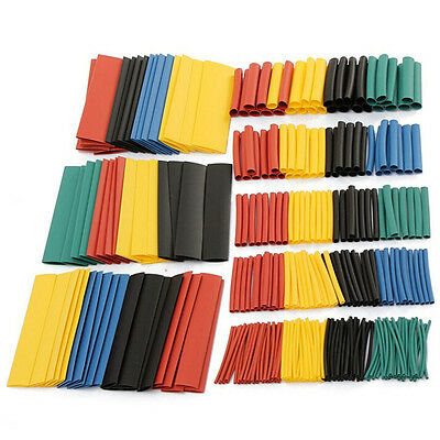 328 Pcs 5 Colors 8 Sizes Assorted 2:1 Heat Shrink Tubing Wrap Sleeve Kit top nD