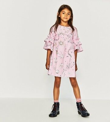 Zara Kids Girl Cosmos Print Poplin Dress Size 11-12 NWT