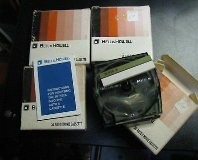 Lot of 4 Vintage BRAND NEW Bell & Howell 50' Auto 8 Movie Cassette