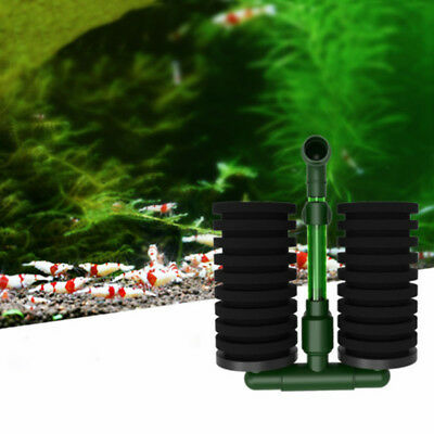 Aquarium Fish Tank Biochemical Sponge Filter Air Pump Double Head w/ Suction Cup