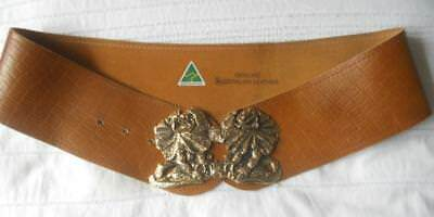 Fabulous Vintage 1980S Ladies Leather Belt Frill Neck Lizard Buckle 28-34 Inch