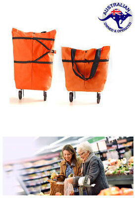 Portable Fordable Shopping Trolley Cart Bag With Wheels Coles Woolis Supermarket