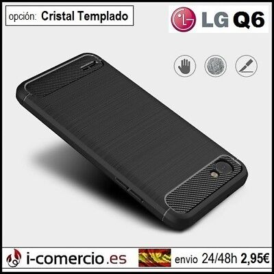 "Funda Carcasa TPU Silicona Carbono Carbon Tough Rugged Slim Case LG Q6 5.5"" 4G"
