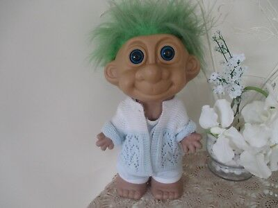 Rare Lovely Large  Green Haired Troll Doll