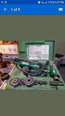 Greenlee 7306 Hydraulic Knockout Set Punch Driver Set With Punches & Dies