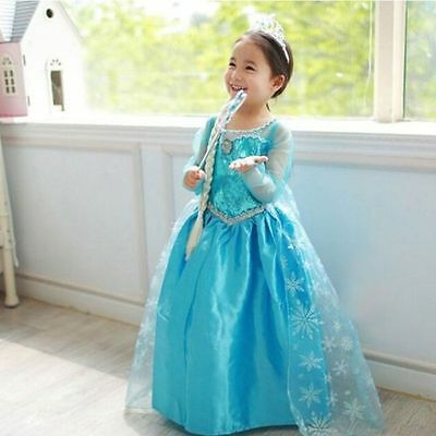Girls Dress Princess Children Anna Elsa frozen Costume Party dress size 130(6)