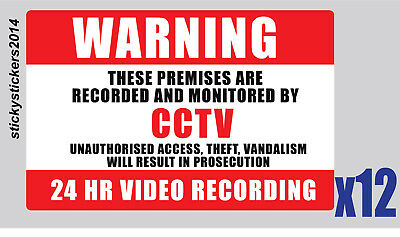 Sticker Warning These Premises  CCTV 240x200mm Pack (6) Offer & Fast Delivery