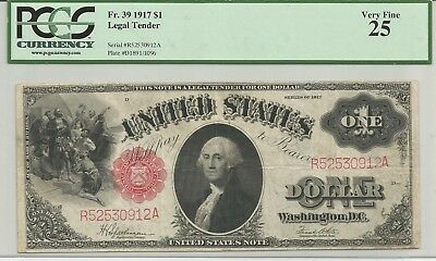 FR. 39 Series of 1917 $1 Legal Tender Note PCGS Graded Very Fine 25